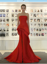 Sexy strapless red satin Cheap long Prom dresses 2015 mermaid Evening Dress pleat Floor Length Formal Party gown evening dress
