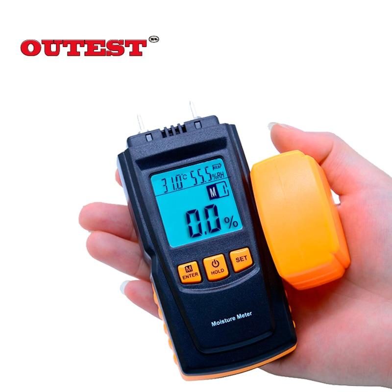 GM610 Digital LCD Display Wood Moisture Meter Humidity Tester Timber Damp Detector Hygrometer Range 0~70% 3 in 1 1 8 lcd digital wood timber moisture meter tester green 2 x aaa