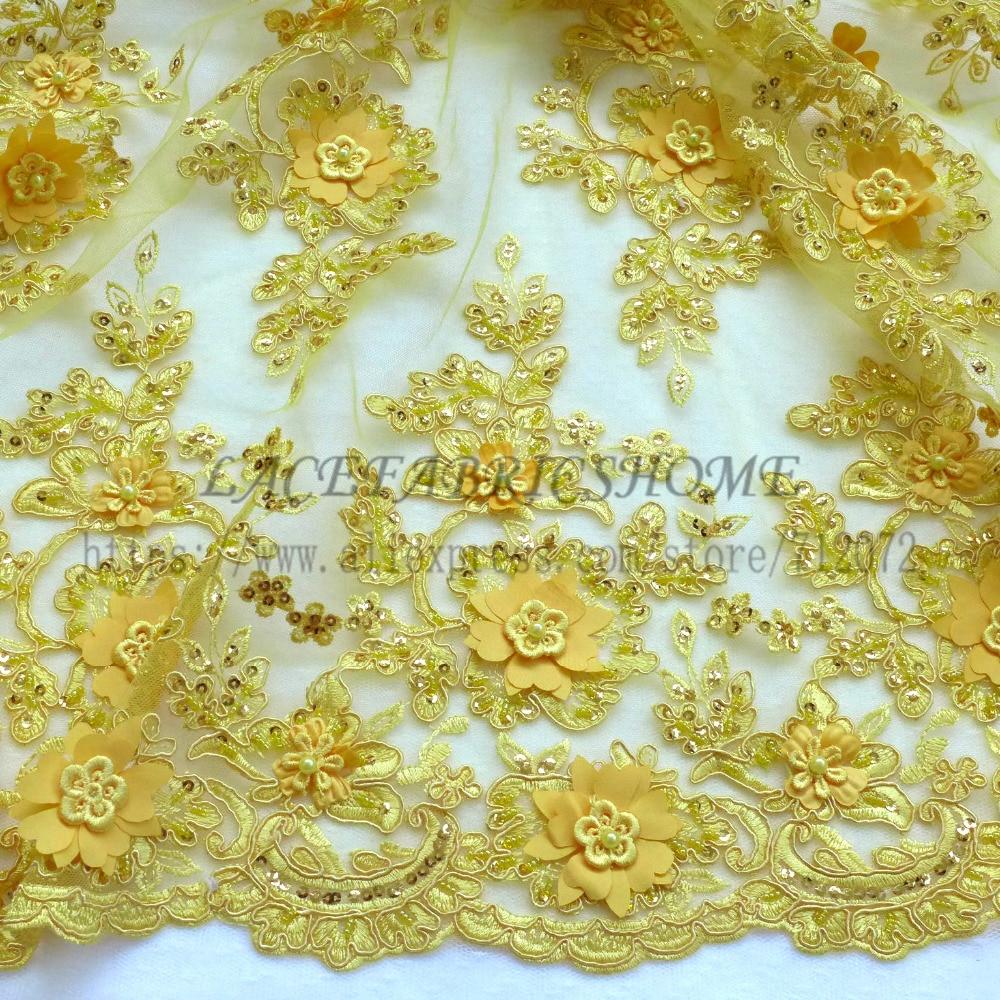 1 ярд новый ярко-желтый/розовый/Orange/бежевый ручной 3D цветы/свадебное/вечернее платье кружева ткань 49 ''ширина 1 ярд