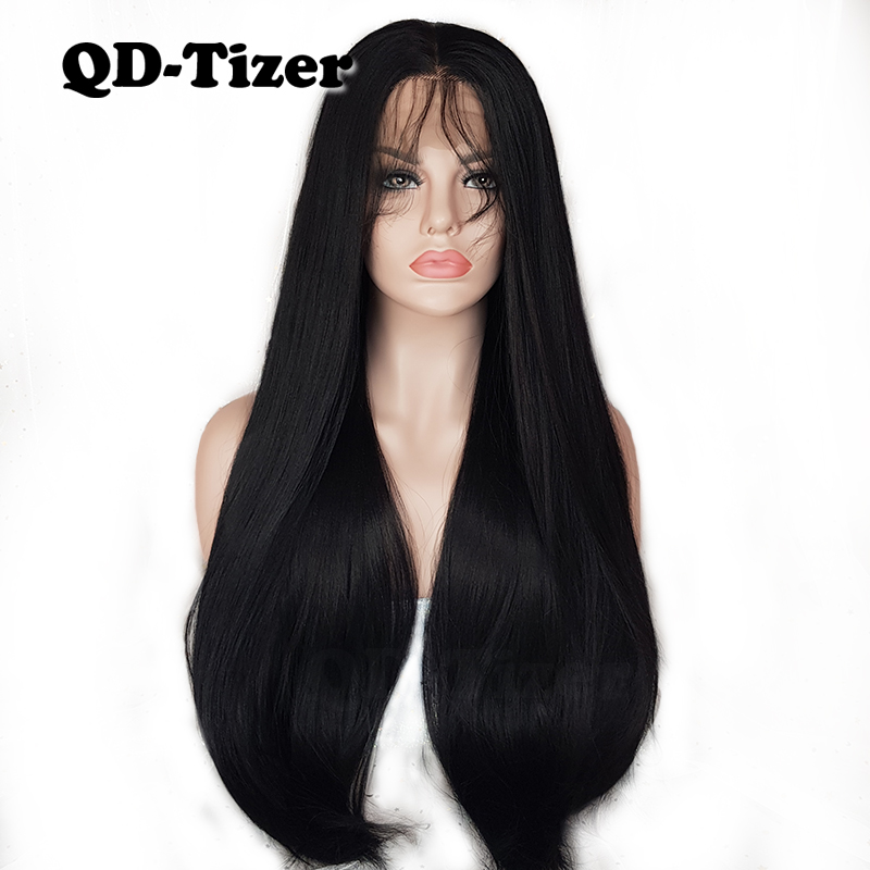 QD Tizer Long Yaki Hair Black Color Heat Resistant Synthetic Lace Front Wigs with Baby Hair