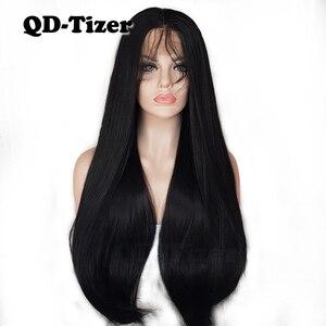 Image 1 - QD Tizer Lange Yaki Haar Schwarz Farbe Hitze Beständig Synthetische Spitze Front Perücken mit Baby Haar Licht Yaki Haar perücken für Frauen