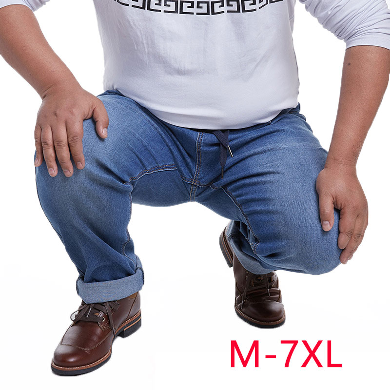 M-7XL Elastic Band Pants High Waist Trousers Fashion Casual Man Straight Jeans Baggy Men Big Size Jeans New Spring Autumn HLX131