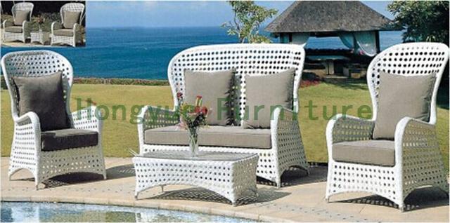 Respaldo alto jardín rattan sofa set