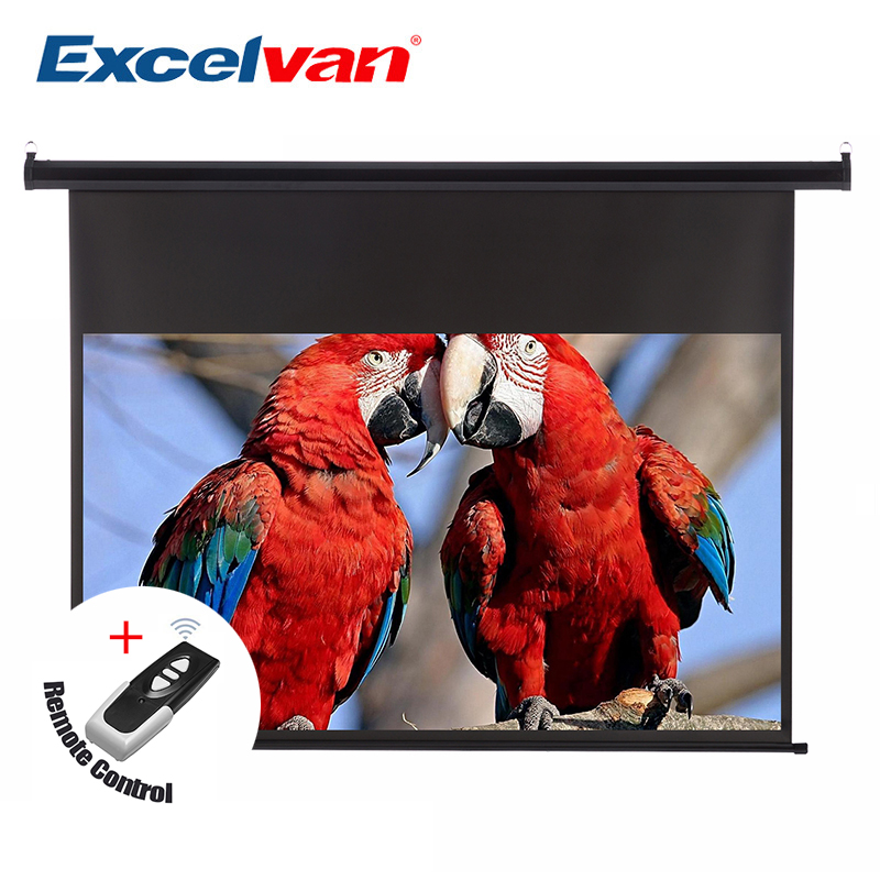 Excelvan 120 inch 16:9 1.2 Gain Wall Ceiling Electric Motorized HD Projector Screen with Remote Control Up Down For Home Office free shipping 120 inch 16 9 electric metallic