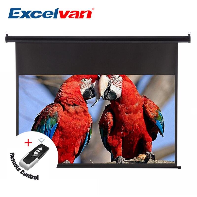 Excelvan 120 pouces 16:9 1.2 Gain mur plafond électrique motorisé HD écran de projecteur avec télécommande vers le bas pour le bureau à domicile