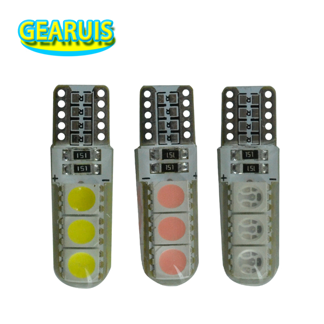 100Pcs T10 Silicone LED 6 SMD 5050 60MA W5W Wedge Side License Light Lamp Bulb Car Light Source White Blue Red Green Yellow 12V