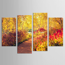 4 pieces / set Painting Beautiful Autumn Forest Bright Road Landscape Picture Printed on Canvas for Home Hotel Wall Art Decor