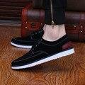 Novo 2016 Moda Masculina Sólidos Sapatos Baixos Sapatas de Lona dos homens apartamentos Sapato Sapato Casual Verão Lace-Up sapatos de Condução Respirável Sapatas dos homens