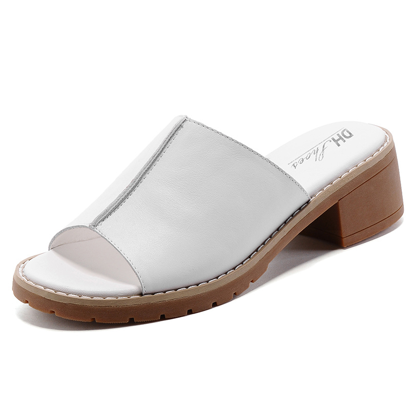 Summer Fashion Soft Cow Leather Women Sandals Handmade Comfortbale Medium Square Heel Solid Color Slip On Style Girls Slides