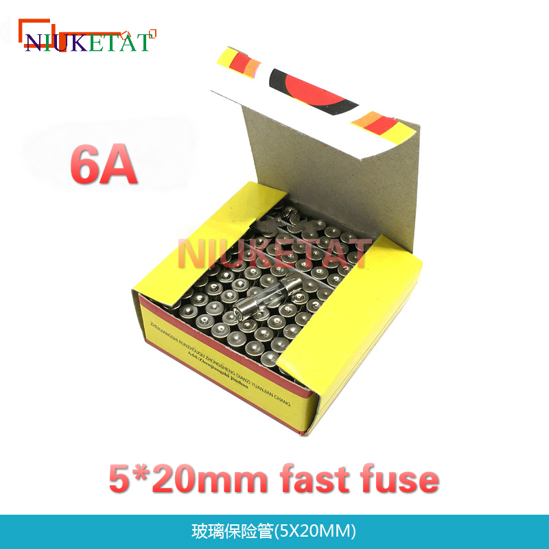 100pcs/box 5*20mm 6A 250V Fast fuse 5*20 F6A 6000mA 250V Glass Fuse 5mm*20mm New and original 100pcs lm338t lm338 to 220 new and original