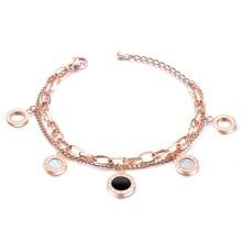 Elegant Bracelet Titanium Round Pendant Multilayer Bracelets For Women Roman Digital Jewelry Lovely Bracelet pulseras mujer stylish multilayer faux pearl round lace bracelet for women