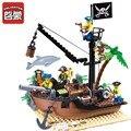 ENLIGHTEN 178 ШТ. Пират Серии Карибский Пиратский Корабль Royal Военный Корабль Строительные Блоки DIY Сборки Кирпичи Образовательные Детские Игрушки