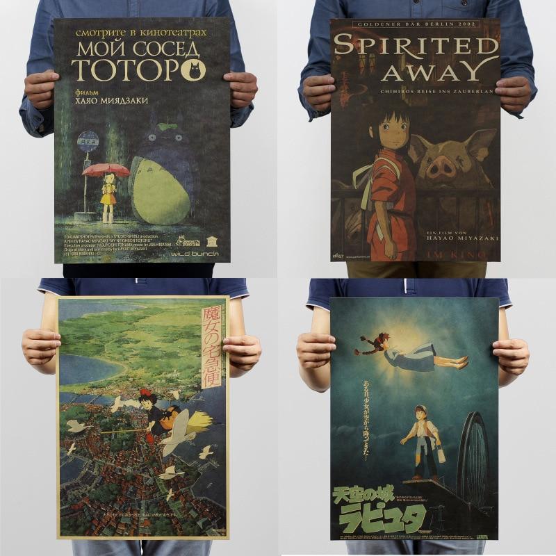 Hayao Miyazaki Vintage Retro Kraft Paper Poster Japanese Anime Cartoon Children's Room Decorative Painting Posters 51x35cm