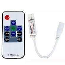 RF Mini RGB Remote Controller 10Keys, DC 5V-24V MAX 12A Wireless for 5050 3528 LED Strip Lights