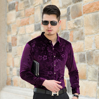 2016 New Arrival Autumn And Winter Mens Fashion Flowers Long Sleeve Velvet Dress Shirts