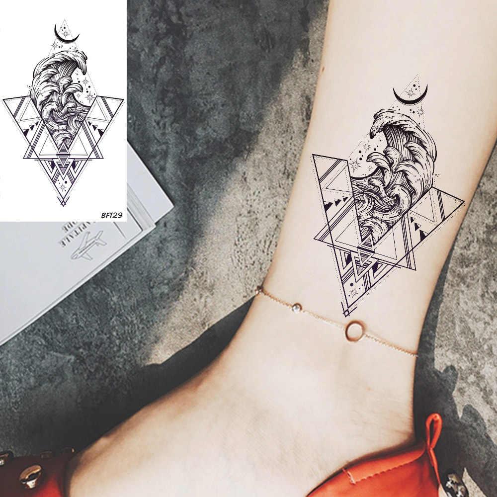 Vankirs Segitiga Gelombang Laut Bulan Sementara Tato untuk Gadis Wanita Tahan Air Palsu Hitam Tato Geometris Stiker Surf Pria Seni