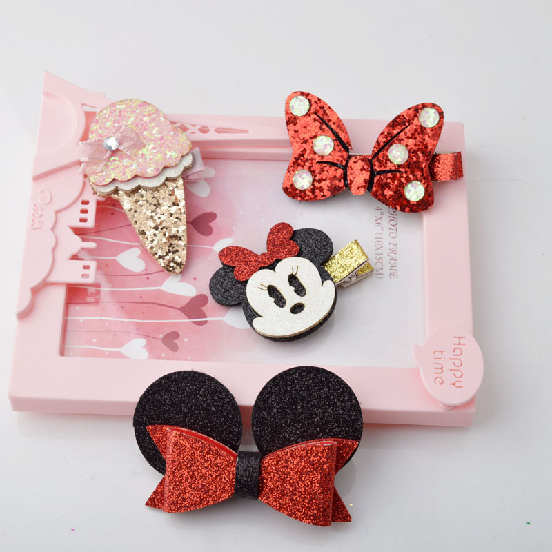 New Fashion Red Bow Mouse Girls Children Hairdress Kid New Duckbill Head Side Clip Ice Cream Hair Clips A7