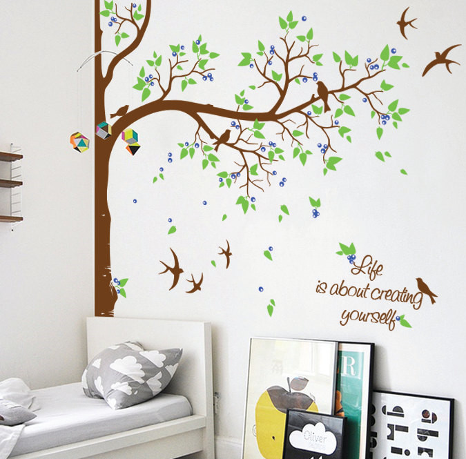 Nursery Tree With Flying Birds Custom Name Or Quotes Decals Baby Kids  Bedroom Sweet Decor Huge Tree Vinyl Removable Mural Y-947