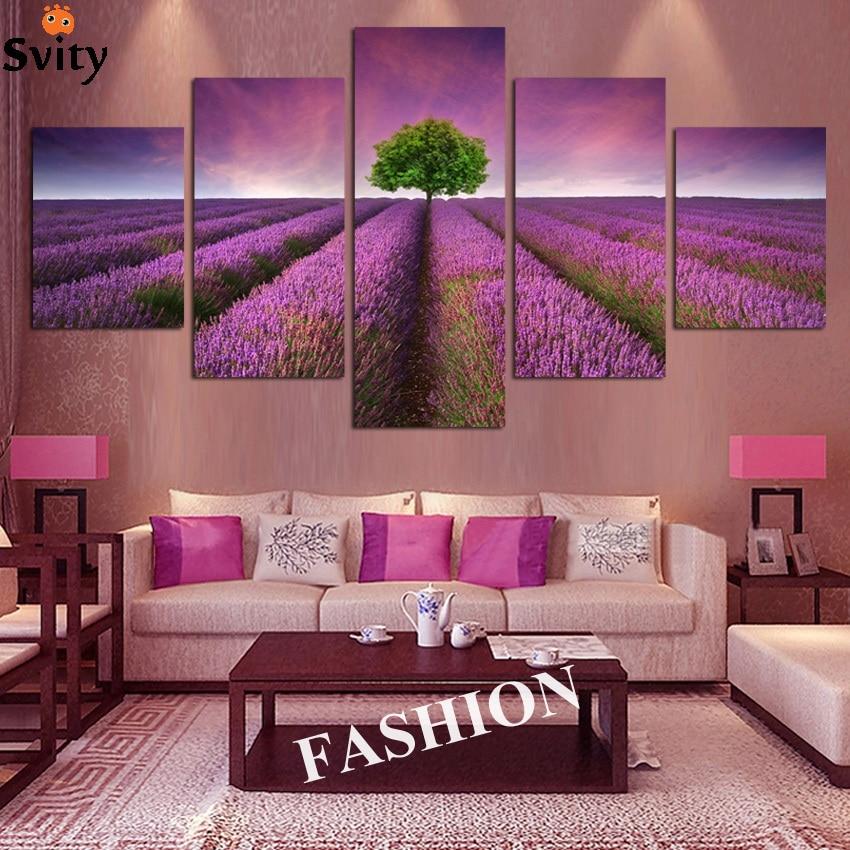 No frame 5 pcs provence lavender modular flowers pictures for Ce decor