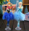 2Pcs/lot Elsa and Anna Princess Doll Toys with Feather Dress Sucker Base Ornament Figures Toys Best Girls Gift