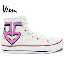 Wen Hand Painted Shoes Custom Design Pink R5 Louder Casual Shoes High Top Women's Canvas Shoes Birthday Gifts