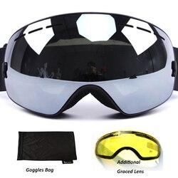 مكافحة الضباب تزلج نظارات UV400 الاستقطاب نظارات التزلج عدسة مزدوجة التزلج على الجليد نظارات واقية من الثلج تزلج نظارات مع قضية للنساء رجل