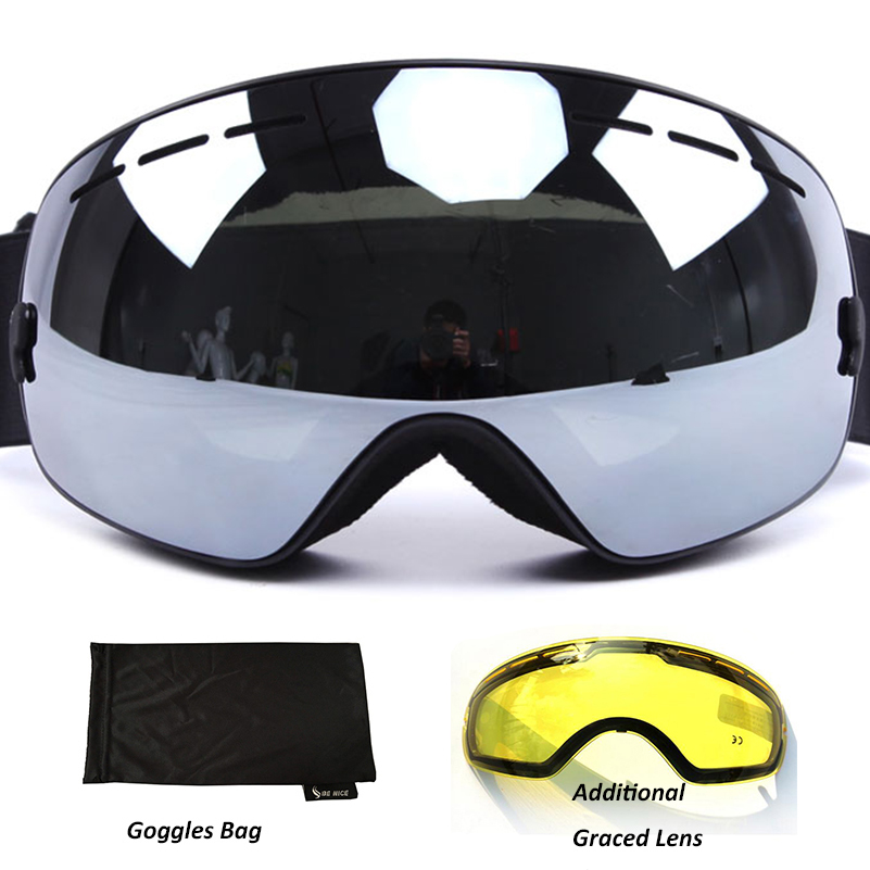 Anti fog Ski Goggles UV400 polarized Ski Glasses Double Lens Skiing Snowboard Snow Goggles Ski Eyewear With case for Man women
