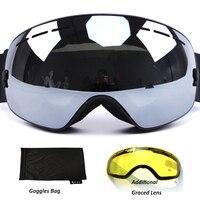 Anti fog Ski Goggles UV400 polarized Ski Glasses Double Lens Skiing Snowboard Snow Goggles Ski Eyewear With case for Man women