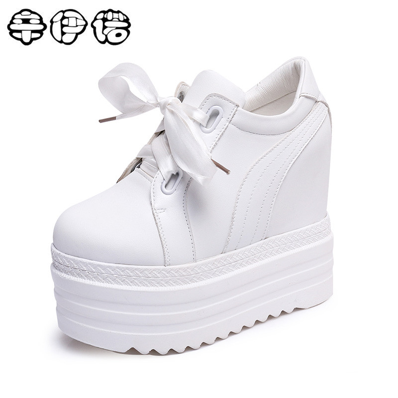 New 2018 High Heels Ladies Casual Shoes Women Wedges platform shoes female chaussure femme swing slimming shoes white black 13cm