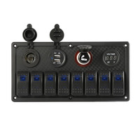 New 8 Gang 12 24V Rocker Switch Panel Control Car Marine Boat Voltmeter IP65 Waterproof Dual