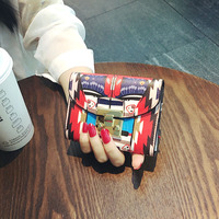 Small Wallet Female Short European Folding All match Korean Leather Purse Personality Lock Thin Tide Coin Ladies Fashion