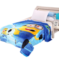 Cheap 150x200cm Minions Blanket Cartoon Blanket for Adult/kids Soft Warm Coral Fleece Blankets on Bed/Travel/sofa Bedding Throw