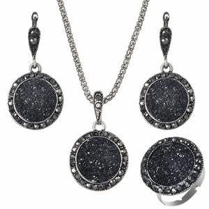 ZOSHI Vintage Black Women Jewelry Set Crystal Stone 3Pc
