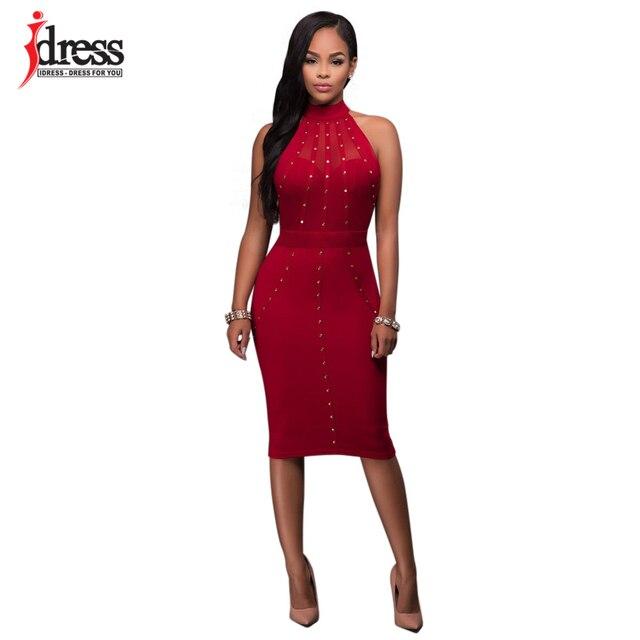 IDress Factory Sexy Club Dress 2017 Knee Length Bodycon Dress Sexy Hollowed  Rivet Halter Neck Sleeveless Midi Summer Party Dress 9d93e4880af1