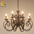 chandelier Led Mediterranean Restaurant living room chandelier lighting green bronze wrought iron candle chandelier