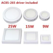 Круглый/квадратный поверхностного драйвер монтажа free потолочный светильники ac панели освещения доставка