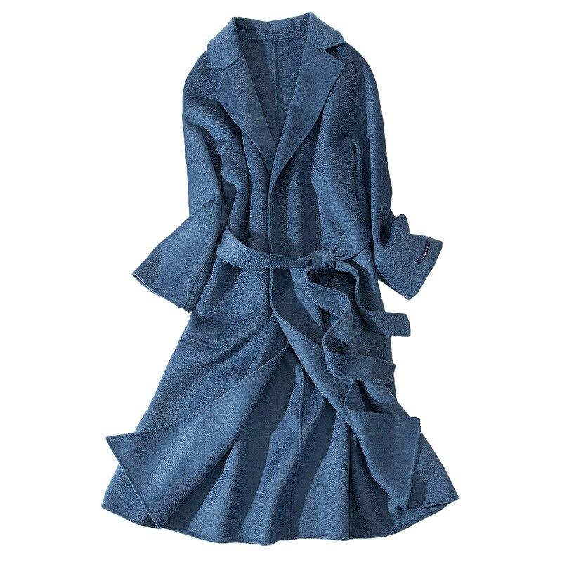 Femmes L'eau Long Bleu Femme marine bleu Chaud Manteau Pardessus Face noir camel 2018 Beige Ceinture De Cachemire Ondulation Hiver Laine Automne Laçage Double xZ1q0xz
