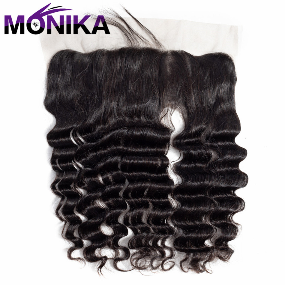 Monika Malaysia Deep Wave Lace Closure With Baby Hair Natural Color 13X4 Non Remy Hair 100% Human Hair Free Shipping
