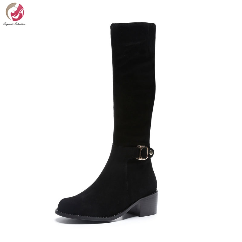 цены Original Intention 2018 Women Boots Winter Mid-Calf Boots Square Heels Cow Suede Casual Boots Black Shoes Woman US Size 3-10.5