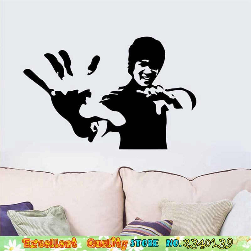 Famous chinese kungfu star bruce lee poster wall sticker for Chinese movie mural