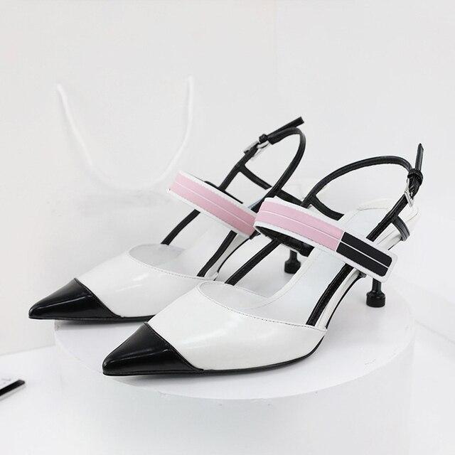 Boussac Punta a punta Kitten Heel Donne Pompe Patchwork Elegante Scarpe Tacco Donne di Disegno di Marca Delle Signore Scarpe Donna SWC0299