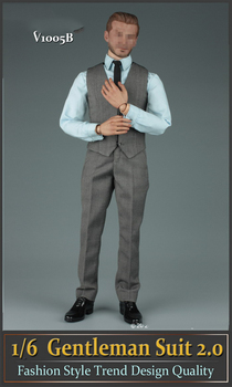 1/6 Male Figure Accessory V1005B Grey Gentleman Suit Set 2.0 & Shoes Model for 12'' Action Figures Model Body Accessories