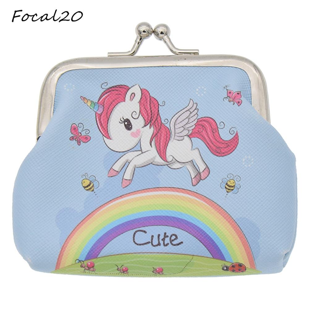 Focal20 Brand New Cartoon Animals Cute Unicorn Rainbow Flowers Pattern Women Girls PVC Coins Wallet Mini Pouch Bag