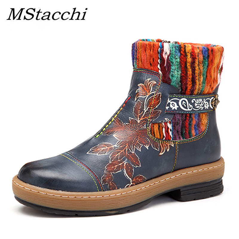 MStacchi 2019 New National Style Ankle Shones Women Genuine Leather Knitted Wool Boot Tube Zipper Shoes Woman Autumn Botas MujerMStacchi 2019 New National Style Ankle Shones Women Genuine Leather Knitted Wool Boot Tube Zipper Shoes Woman Autumn Botas Mujer