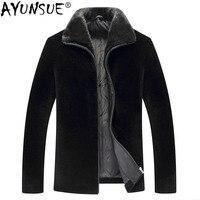 AYUNSUE зимняя куртка мужская 100% шерсть шуба мужская норковая шуба с меховым воротником мужская оторочка из овечьей шерсти пальто 8835 MY733