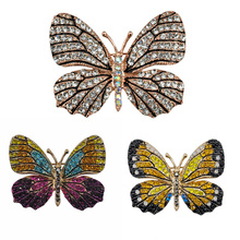Crystal Rhinestone Butterfly Brooch Lifelike Insect Fashion Jewelry Animal Garment Accessory 2016 Factory Sale