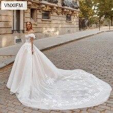 VNXIFM Elegant 2019 White Lace Wedding Dresses V Neck Sleeveless A-line Court Train  Plus Size Bridal Gowns