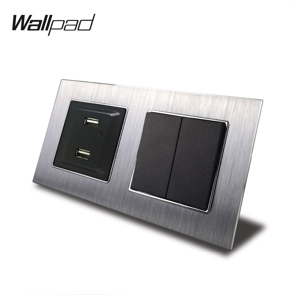 2 Gang Switch and USB Port Wallpad 110V-240V AC Silver Metal Panel 2 Push Button 2 Way Switch + USB Charging Port with Clips2 Gang Switch and USB Port Wallpad 110V-240V AC Silver Metal Panel 2 Push Button 2 Way Switch + USB Charging Port with Clips