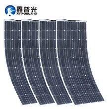 2 piezas 4 piezas Panel Solar 100 W monocristalino Solar celular Flexible para del coche/del yate/barco 12 V de 24 voltios de batería Solar de 100 vatios