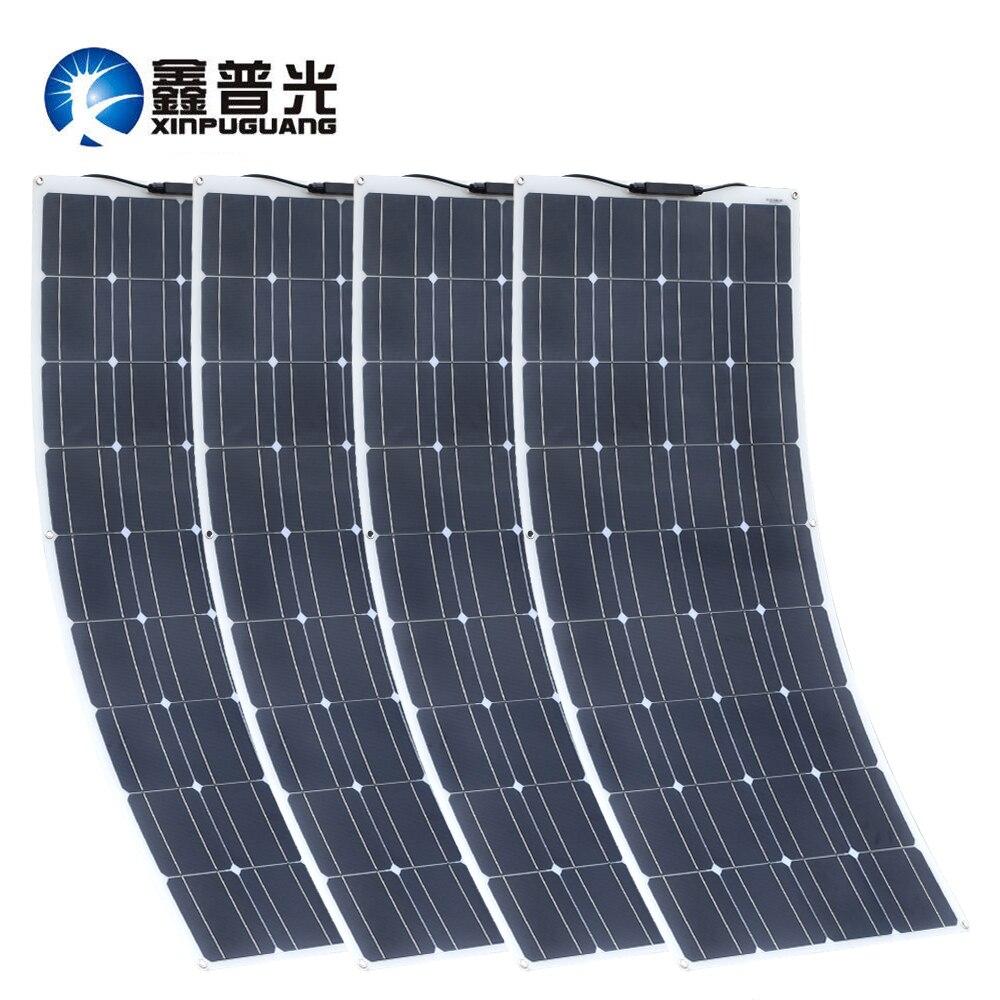 Xinpuguang 2 pces 4 1175*540mm painel solar 18 v 100 w mono célula flexível carro/iate/navio a vapor 12 v 24 volt 100 watt bateria solar